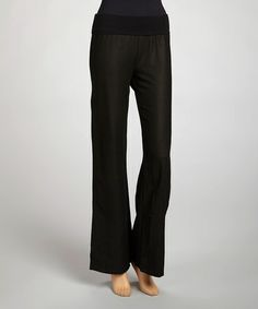 Take a look at this Black Linen Yoga Pants by La Class on #zulily today!