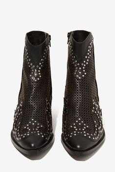 Jeffrey Campbell Paxton Perforated Leather Boots - Shoes | Jeffrey Campbell