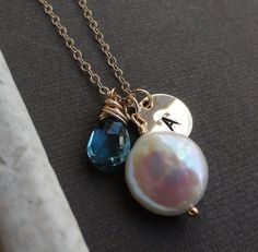 Blue Topaz and pearl necklace with hand-stamped initial charm (also in silver) by BriguysGirls on etsy.com