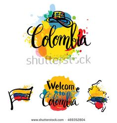 hand lettering logo with watercolor elements. vector illustration independence day of colombia. Colombian Art, Coffee Illustration, Colombia Travel, Travel Icon, Paint And Sip, Nouvel An, Vintage Travel Posters, Letter Logo, Brochure Design