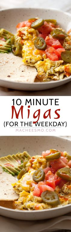 10-Minute Weekday Migas: Breakfast during the week is a huge struggle. But, we can all do better than a bowl of cereal. This big bowl of delicious tex-mex flavors is done in literally 10 minutes. Dig in! | http://macheesmo.com