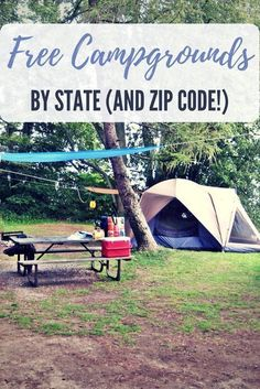 Free Campgrounds Sorted By State (and Zip Code!) - Who doesn't like camping? I think everyone I know likes to camp at least once a year. I actually go camping more like 3 or 4 times a year. The cost c(Cheap Camping Hacks) Auto Camping, Camping Guide, Camping Checklist, Camping World, Camping And Hiking, Camping With Kids, Family Camping, Camping Trailers, Camping Meals