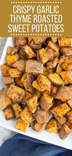 Need an easy, yummy side dish? Make these Crispy Garlic Thyme Roasted Sweet Potatoes! These roasted potatoes are paleo and friendly. Crispy Garlic Thyme Roasted Sweet Potatoes The Clean Eating Coup Sweet Potato Recipes Healthy, Crispy Sweet Potato, Healthy Vegetable Recipes, Healthy Vegetables, Roasted Sweet Potatoes, Sweet Potato Side Dish, Veggie Food, Veggies, Paleo