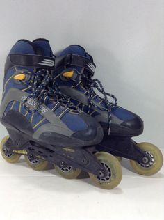 Men Bauer Star 5.0 Roller Blades Blue In Line Anti-Torque Composite Skates Sz 9 #Bauer
