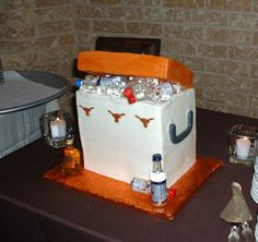 Tailgate cooler groom's cake.