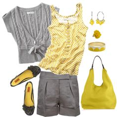 Yellow and gray looks nice, great summer or early fall outfit, with the sweater for fall. but super cute