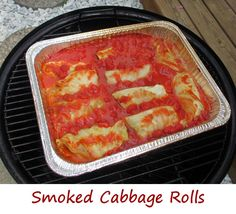 The other day I asked Anita if there was anything special she wanted for dinner this week. She said cabbage rolls. I instantly thought smoked cabbage rolls. So that's what I made, and they came out fantastic. Tender, moist, flavorful stuffing, wrapped in steamed cabbage leaves, all in a simple tomato sauce. Smoked for about an hour, these cabbage rolls combine the traditional with just a hint of smokey flavor. We both agree, these are fantastic.