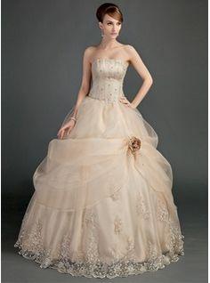 Duchesse-Linie Trägerlos Bodenlang Organzas Satin Brautkleid mit Rüschen Schnur Perlen verziert Blumen