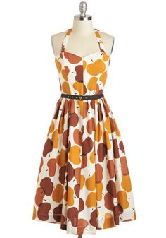 Made in the Shades Dress in Apples by Emily and Fin - Brown, Casual, Fruits, A-line, Sweetheart, International Designer, Cotton, Mid-length, Tan / Cream, White, Novelty Print, Belted, Vintage Inspired, Halter, Daytime Party, 50s, Fit & Flare, Variation