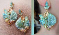 soutache shibori earrings