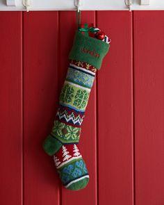 Snowflake Knit Christmas Stocking, Multi Colors - Neiman Marcus
