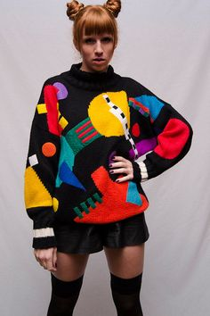 Amazing 80's ESPRIT Sport Crazy Shapes Vintage Sweater!