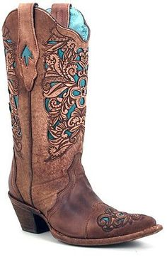 Womens Brown w/Turquoise Inlay Floral Tooled Corral Boots- I don't even like cowboy boots but I'll admit these are pretty!