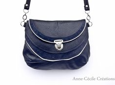 sac à main cuir noir recyclé de AnneCecileCreation sur DaWanda.com