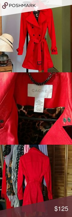 Red cache coat Gorgeous red trench coat from cache with a satin leopard lining inside. Love this coat,sadly its too big for me! Worn once Cache Jackets & Coats Trench Coats