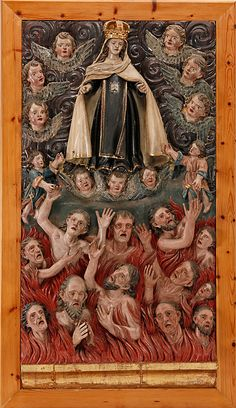 Virgen del Carmen con querubines y las almas del purgatorio
