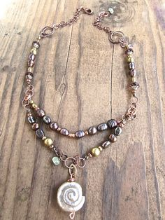 Hill Tribe Silver Sea Snail Pendant Necklace OOAK