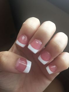 Pink and white acrylic nails French tip short pretty. Are you looking for Short square acrylic nail colors design for this autumn? See our collection full of cute Short square acrylic nail colors design ideas and get inspired!