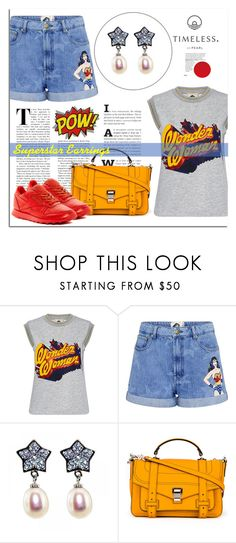 """Superstar Earrings"" by timelesspearl ❤ liked on Polyvore featuring Paul & Joe Sister, Proenza Schouler, Reebok, wonderwoman and timelesspearl"