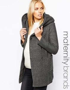 New Look Maternity | New Look Maternity Salt and Pepper Infinity scarf Coat at ASOS