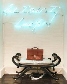 Hermes briefcase under Tracy Emin neon artwork - Tommy Hilfiger Tommy Hilfiger, Furniture Layout, Dining Room Furniture, Furniture Design, Neon Artwork, Tracey Emin, Neon Lighting, Home Deco, Cool Designs