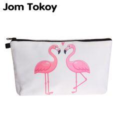 Jom Tokoy Flamingo Print Cosmetic Bag - White | Aliexpress.com