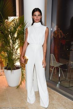Fierce: Sara Sampaio opted for a classy white jumpsuit, highlighting her slender physique ...
