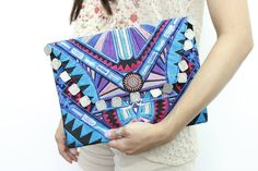 Deco Jaw Clutch With Coins Embroidered Magnetic by ThaiHandbags
