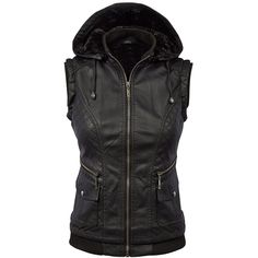 MBJ Womens Faux Leather Moto Vest ($20) ❤ liked on Polyvore featuring outerwear, vests, vest waistcoat, faux-leather vests and fake leather vest