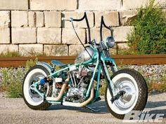 retro harley davidson motorcycle with raised handlebars