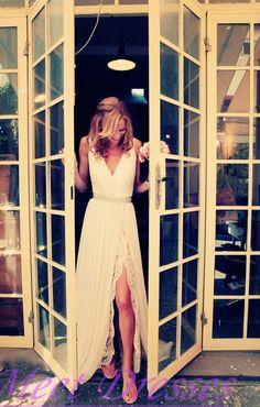 2015 Slit Boho White Wedding Dress Simple V Neck Backless Lace Casual Summer…