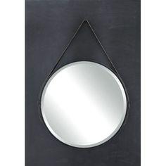 Found it at AllModern - Terrain Round Metal Mirror with Leather Strap