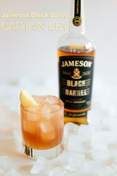 Our Captain Levi cocktail combines the fall flavors of the apple orchard with the smoothness of Jameson Black Barrel. Christmas Cocktails, Holiday Cocktails, Cocktail Drinks, Fun Drinks, Yummy Drinks, Alcoholic Drinks, Beverages, Cocktail Ideas, Party Drinks