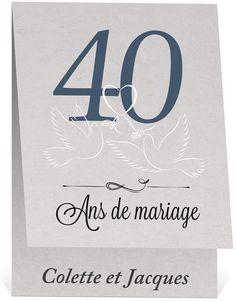 Carte d'invitation 40 ans de mariage
