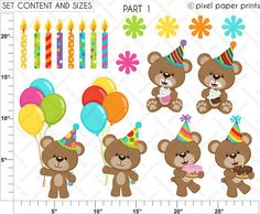 Birthday Bear Set de Clip Art y Papeles por pixelpaperprints