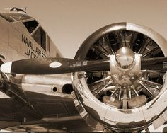 Up Close and PersonalVintage Aircraft C-45 Navy Beechcraft Plane in Sepia