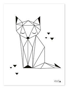 Lilipinso Kinderzimmer-Poster 'Origami-Fuchs' schwarz/weiß ...