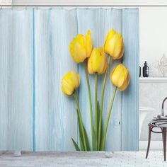 Yellow Flowers Rustic Shower Curtain – joocarhome Rustic Shower Curtains, Curtain Store, Tulip Table, Square Tables, Table Covers, Table Linens, Yellow Flowers