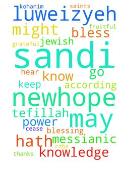 PRAYER -  NEWHOPE SANDI LUWEIZYEH A Messianic Jewish Tefillah Shalom Chaverim Toda raba for all of those of you that continue to intercede for me through this website. I am truly grateful to all of you that go before Yashua HaMoshiach on my behalf. I have created this prayer request that I would like for you to use when interceding for me. May HaAdonai bless and keep you today and always. A Messianic Jewish Tefillah The Birkat Kohanim The Priestly Blessing Scripture Refs Colossians 1915…