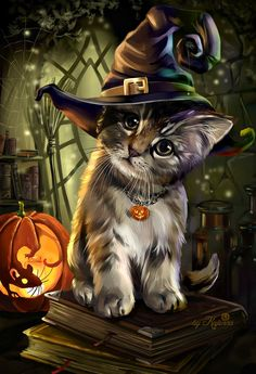 ▷ 1001 + ideas for Halloween pictures to match the mood- ▷ 1001 + Ideen für Halloween Bilder zur passenden Stimmung a little cat with a witch hat, a little mouse in the pumpkin carved halloween background - Photo Halloween, Halloween Cat, Samhain Halloween, Halloween 2018, Halloween Costumes, Cute Animal Drawings, Cute Drawings, Cute Halloween Drawings, Halloween Pictures To Draw