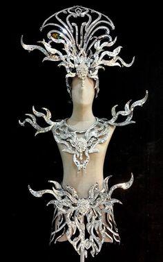 Da NeeNa C117 Asian Warrior Crystal Showgirl Samba Headdress Costume Set #DaNeeNa