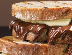 Dark Chocolate and Banana Panini- super easy to make and sounds delish!  ingredients are just bananas, sourdough bread (yum), dark chocolate and honey.