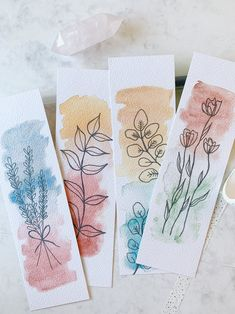 Watercolor Bookmarks, Watercolor Paintings, Watercolor Paper, Paper Bookmarks, Creative Bookmarks, Bookmark Craft, Book Markers, Art Drawings Sketches Simple, Diy Canvas Art