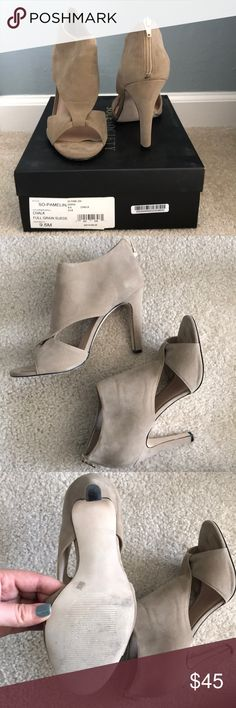 Gorgeous suede heels Love these!! They are just too small for my feet 😢 squeezed in them once for an event but can't handle the tightness! Come w box. Shoes Heels