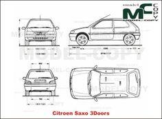 Citroen Saxo 3Doors - blueprints (ai, cdr, cdw, dwg, dxf, eps, gif, jpg, pdf, pct, psd, svg, tif, bmp) Autocad, Citroen Xsara Picasso, Adobe Illustrator, 3d Modeling Programs, Citroen Car, 3d Modelle, Photoshop, Commercial Vehicle, Rally Car