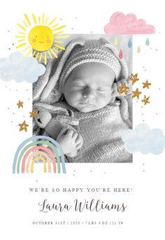 Rainbow Magic - Baby Shower & New Baby Card Kids Cartoon Characters, Cartoon Kids, Baby Shower Invitation Cards, Baby Shower Cards, Welcome New Baby, Rainbow Magic, New Baby Cards, Printable Cards, Little Babies