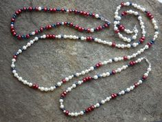 Lady Pearl freshwater Pearl necklaces in a variety of Red, White & Blue...