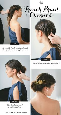 5 Quick and Easy Bridesmaid Hairstyles #theeverygirl #TEGweddingweek #French braid chignon