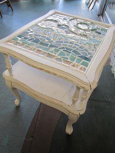 Beach Waves Mosaic Table
