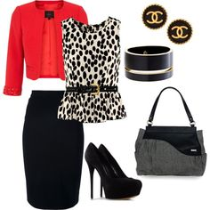 """""""Work Outfit for Fall/Winter but change the shoes."""